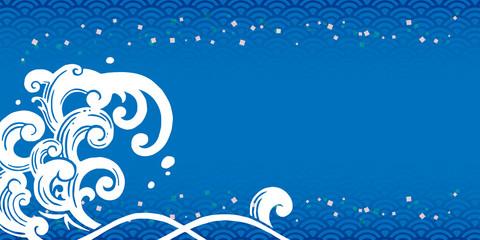 波 背景 青 横