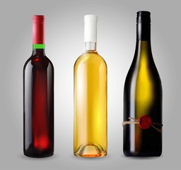 Classical wine bottle set, vector icon isolated on white background.