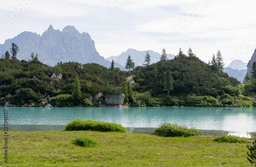 Detail shot of the wonderfull Sorapiss lake in the italian Alps, in