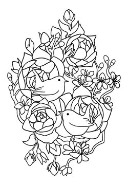 birds and roses colouring book
