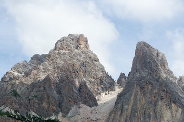 Detail of the majestic peaks of the high mountains in the italian Alps range, in particoular in the Dolomites.