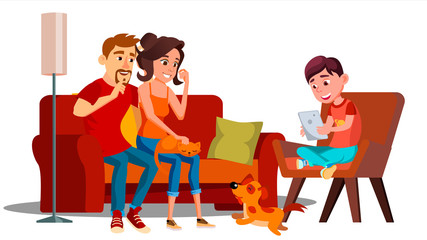 Family Relaxing At Home Together Vector. Isolated Illustration