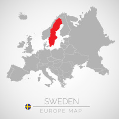 Map of European Union with the identication of Sweden. Map of Sweden. Political map of Europe in gray color. European Union countries. Vector stock.