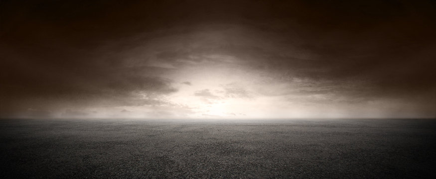 Dark Concrete Floor Landscape Sunset Horizon