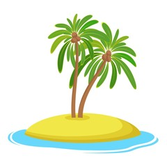 Island with coconut palm trees isolaed on white background, Summer vacation holiday tropical ocean, Vector illustration