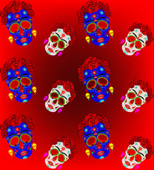 Mexican skull seamless pattern, Calavera with flowers. Decoration for Day of the Dead, Dia de los Muertos. Halloween poster background, greeting card or t-shirt design. Frida style. Set vector skulls