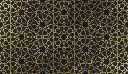 Islamic decorative pattern with golden artistic texture.