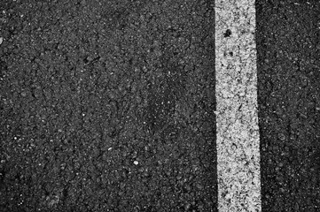 Abstract Black Asphalt Texture with white Line