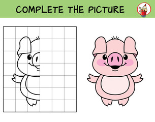 Complete the picture of a little pig. Copy the picture. Coloring book. Educational game for children. Cartoon vector illustration