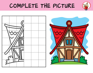 Complete the picture of a little house. Copy the picture. Coloring book. Educational game for children. Cartoon vector illustration