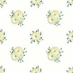 Seamless floral light background with chrysanthemums