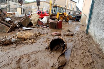 Debris is seen on the street as heavy rain and flash floods hit Sant Llorenc de Cardassar on the island of Mallorca