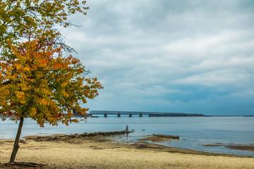 Colorful autumn landscape on river