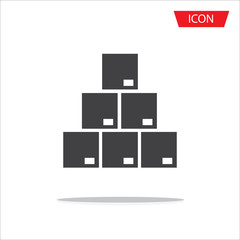 Box stack. Pile of cardboard boxes. Thin line simple icon vector icon isolated on white background.