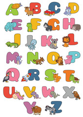 cartoon alphabet poster. Vector illustration of educational alphabet  with cartoon character for kids