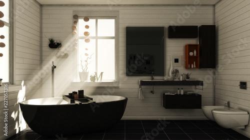 """Badewanne Rustikal rustikales bad mit badewanne am späten nachmittag"""" stock photo and"""