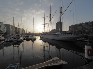 The marina of Oostende at sunrise.