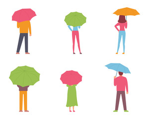 Rainy day, umbrella, people, vector illustration, flat design
