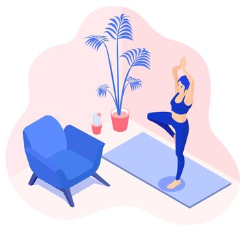Isometric vector illustration of a  yoga girl in a tree pose  or vrksasana, exercise  at home