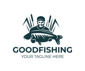 Fishing, fisherman holds carp fish and standing in the reeds, logo design. Fishing sport club and angler, nature, animal and underwater life, vector design and illustration