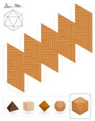 Platonic solids. Template of a icosahedron with wooden texture to make a 3d paper model out of the triangle net.
