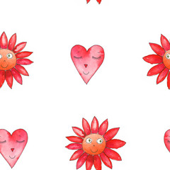 Decorative background with cute cartoon flower and heart. Hand painted watercolor elements. Seamless pattern.