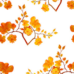 Decorative background with hand drawn flowers. Hand painted watercolor elements. Seamless pattern.
