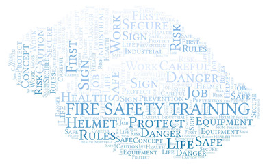 Fire Safety Training word cloud.