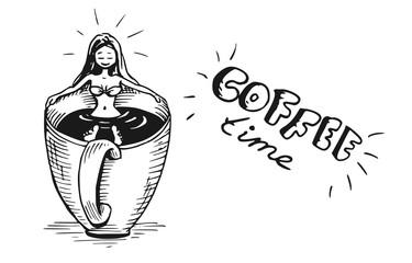 Vrouw neemt bad in kop koffie - Illustratie - handlettering koffie