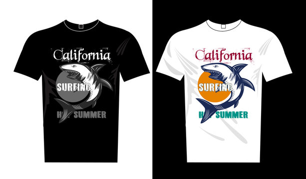 illustration of surfer t-shirt print