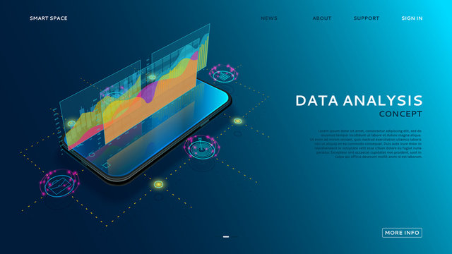 Data analysis landing page. 3d vector illustration with finance graphs, analytics data and charts on smartphone. App of mobile phone with business infographic charts. Information technology concept.