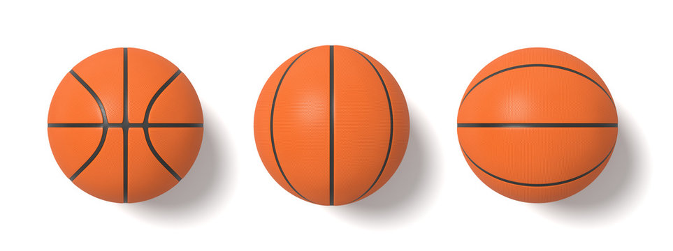 3d rendering of basketballs shown in different view angles on a white background in top view.
