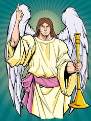 Portrait of Archangel Gabriel praising the lord and holding a trumpet.