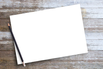 White blank paper or notepad with pencil