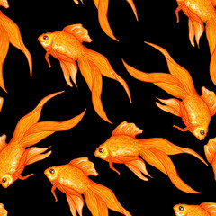 Watercolor seamless pattern with gold fishes in black water