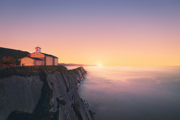 San Telmo chapel in Zumaia at sunset. Gipuzkoa, Basque Country