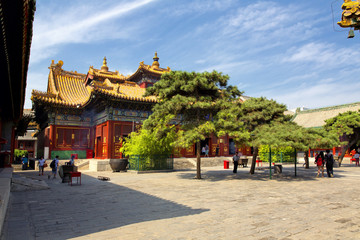 Tourists visiting the Tibetan temple in Beijing