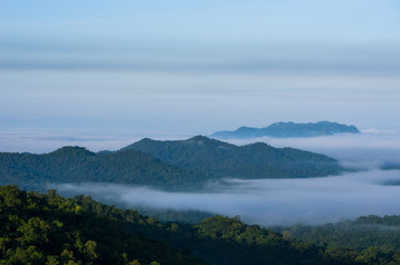 Mountain landscape with fog.