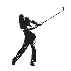 Golf player, isolated vector silhouette. Active people, golf swing