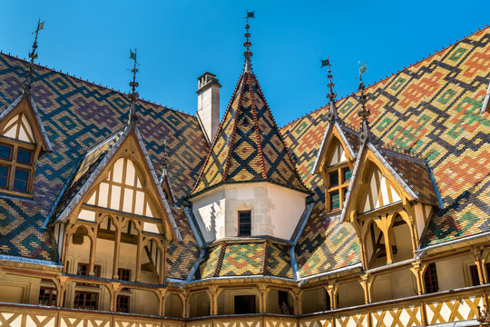 Architecture of the historic Hospices of Beaune, France