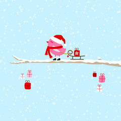 Wall Mural - Pink Bird Pulling Sleigh With Gift On Tree Blue