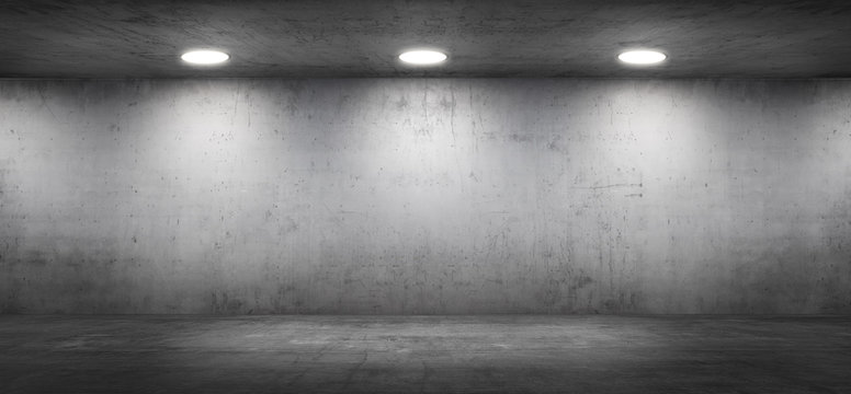 Dark Empty Room with Concrete Wall and Floor Background for Product Placement