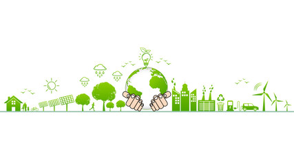 World environment and sustainable development and Ecology friendly concept with green city,vector illustration