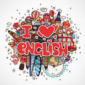 Phrase I LOVE ENGLISH educational and travelling concept. I love English vector cartoon illustration, lettering about loving learning language on cartooning objects -big ben, guard, bus, map and