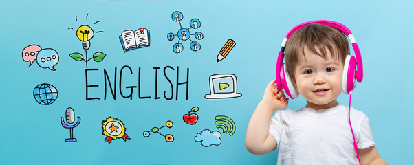 English with toddler boy with headphones on a blue background