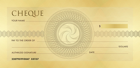 Check template, Chequebook template. Blank gold business bank cheque with guilloche pattern rosette and abstract watermark. Background for voucher, banknote design, , gift certificate, ticket, coupon