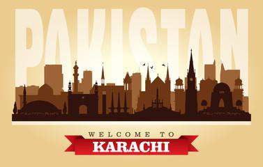 Karachi Pakistan city skyline vector silhouette Fototapete