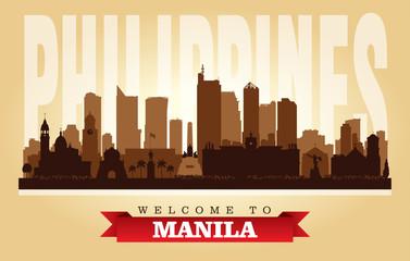 Manila Philippines city skyline vector silhouette