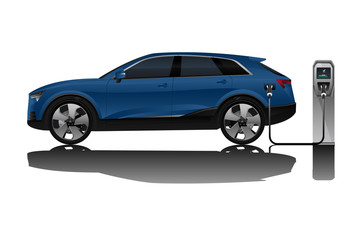 Blue electric SUV is charging from the charging station. Vector illustration EPS 10