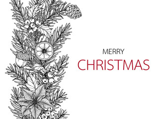 Merry Christmas'day backgroungs with line art drawing illustration.